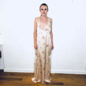 REFORMATION SILK CHAMPAGNE FLORAL GOWN DEEP V 10